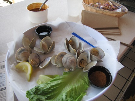 a plate of cherry stone clams